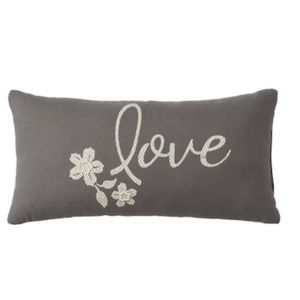 "NWT Gray ""love"" pillow"